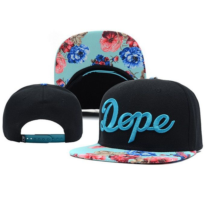Dope Flower pattern style snapback black colored with ocean blue dope logo   snapback http  c59c98bb14d