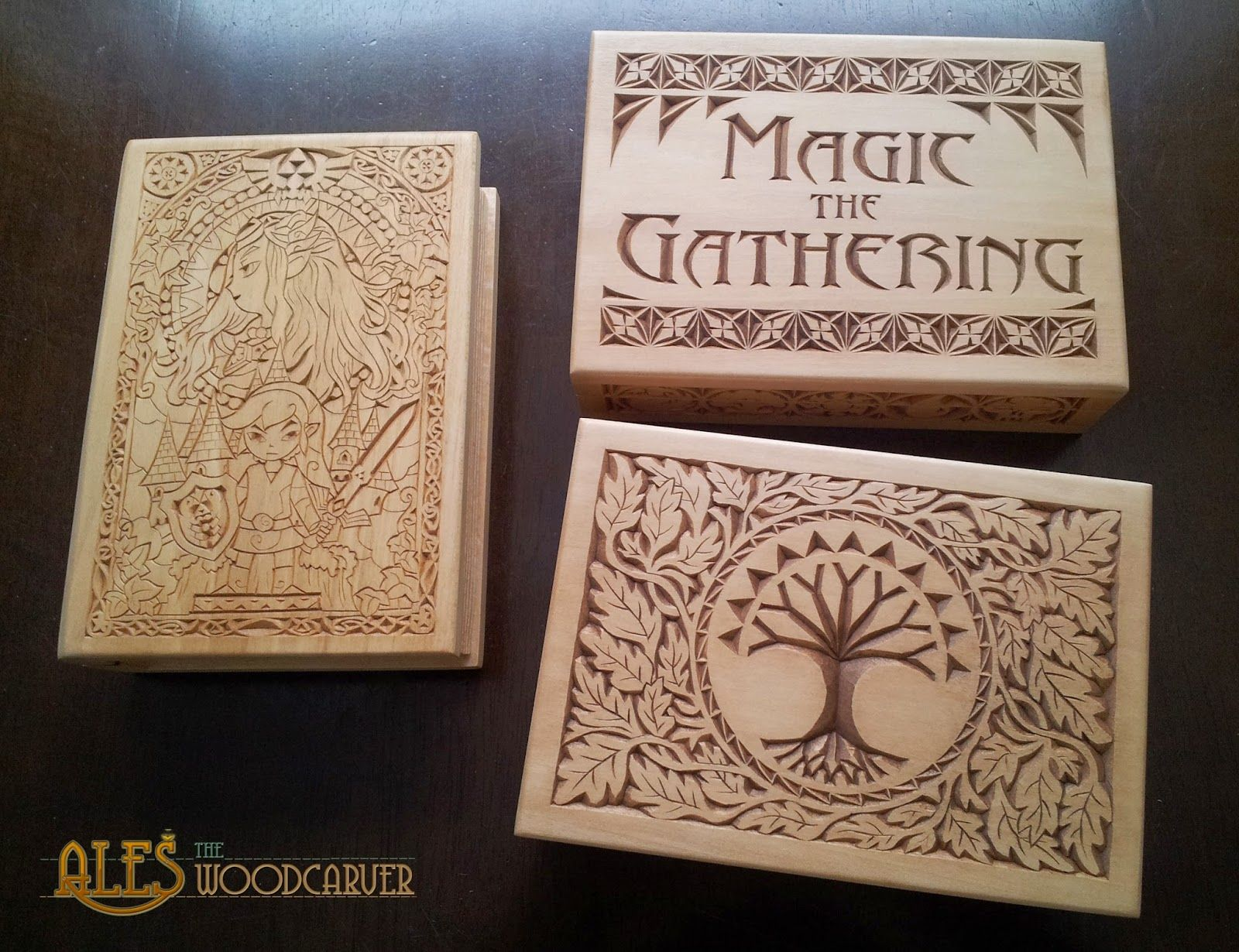 Three chip carved basswood boxes two card boxes for magic the