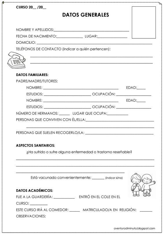 Ejemplo ficha con datos de los alumnos tel fonos contacto datos familiares datos acad micos - Registro bienes muebles barcelona telefono ...