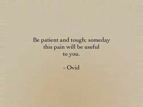 Be patient and tough;someday this pain will be useful to you.