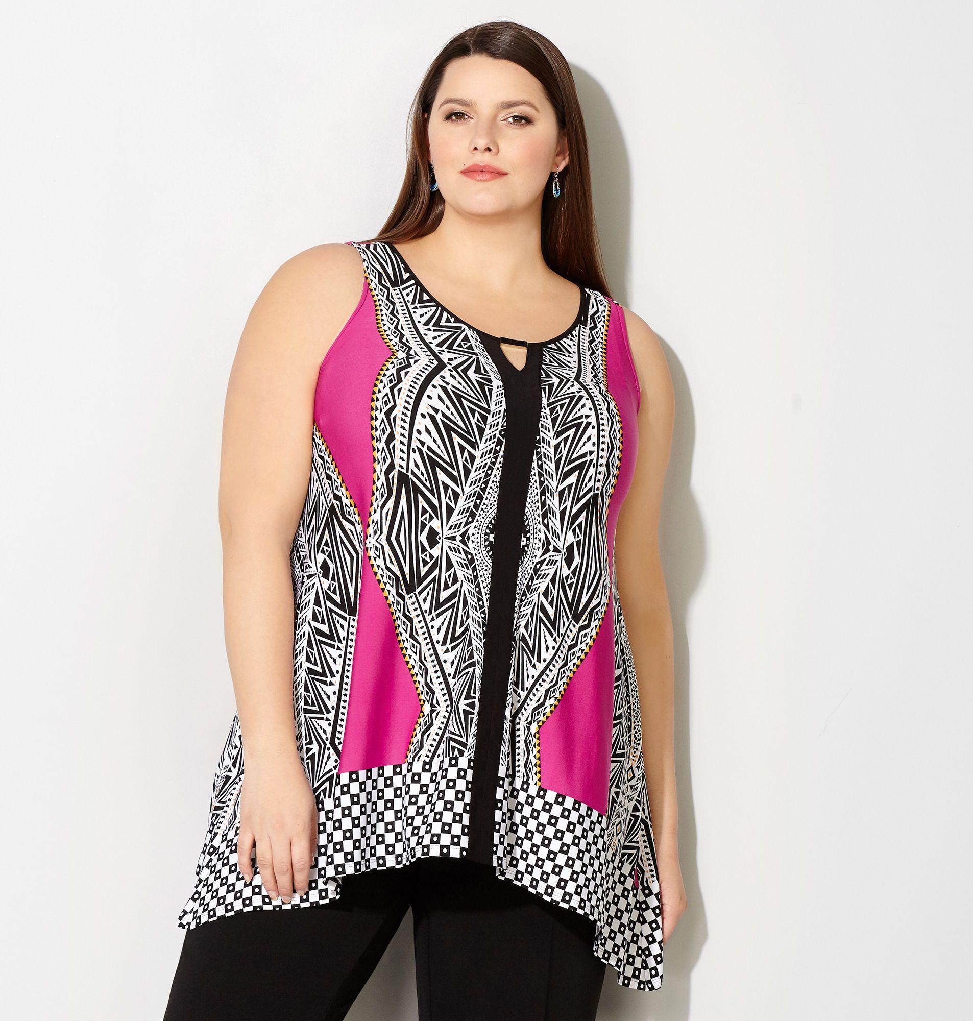708e9aac1b503 Tribal Bar Sharkbite Tank - Avenue · I Love FashionPlus Size ClothingBright  ColoursSize ...