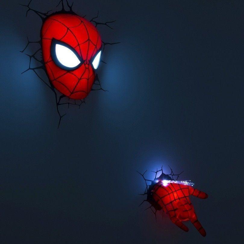 2 Pc Spiderman Mask Hand Set Nightlight Marvel 3d Wall Art Light Lamp Deco Kids Marvel Spiderman Room Kids Room Wall Murals Superhero Room