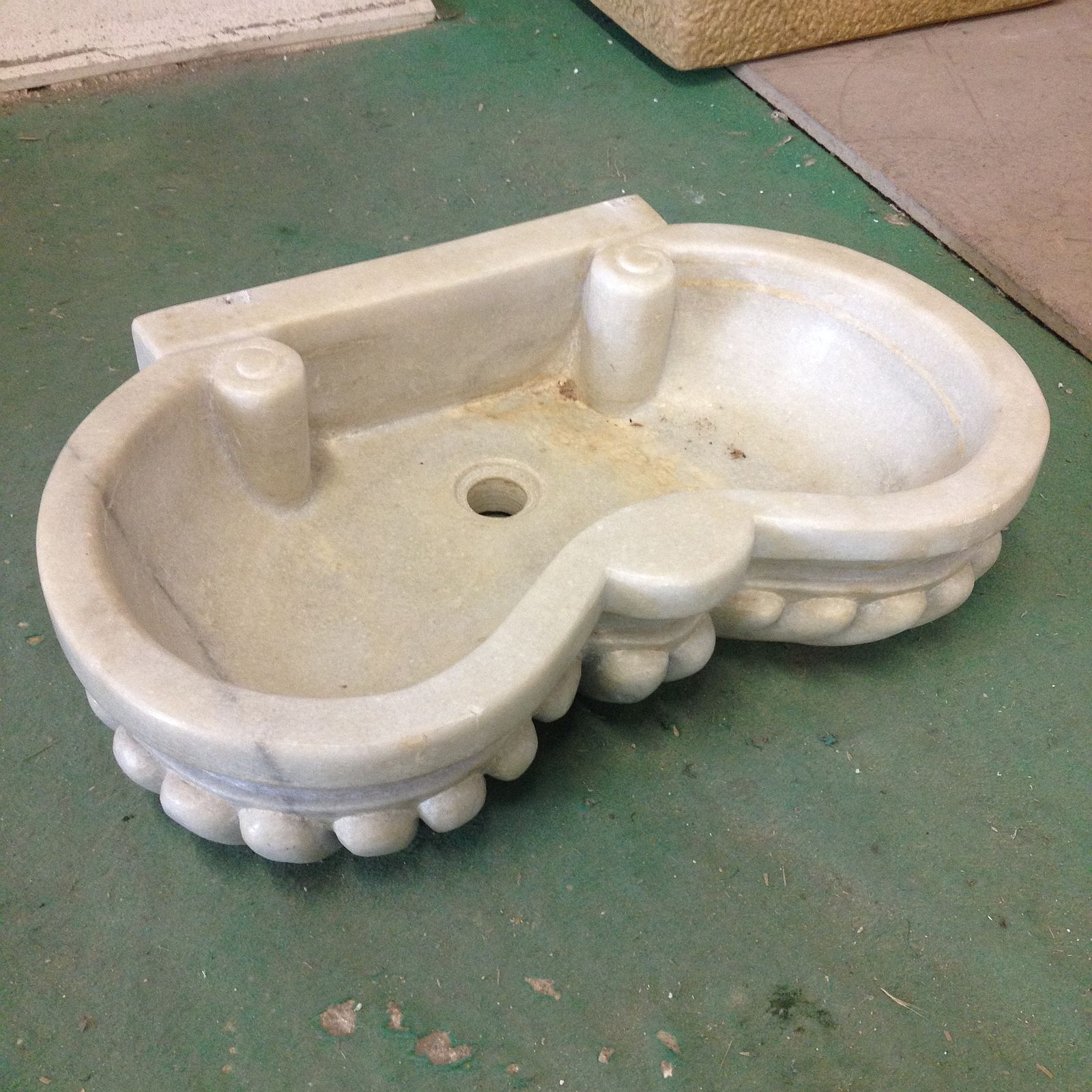 Lavandino lavello vasca in marmo massello doppia conchiglia cm 60 bagno cucina c bathroom - Lavandino doppia vasca cucina ...