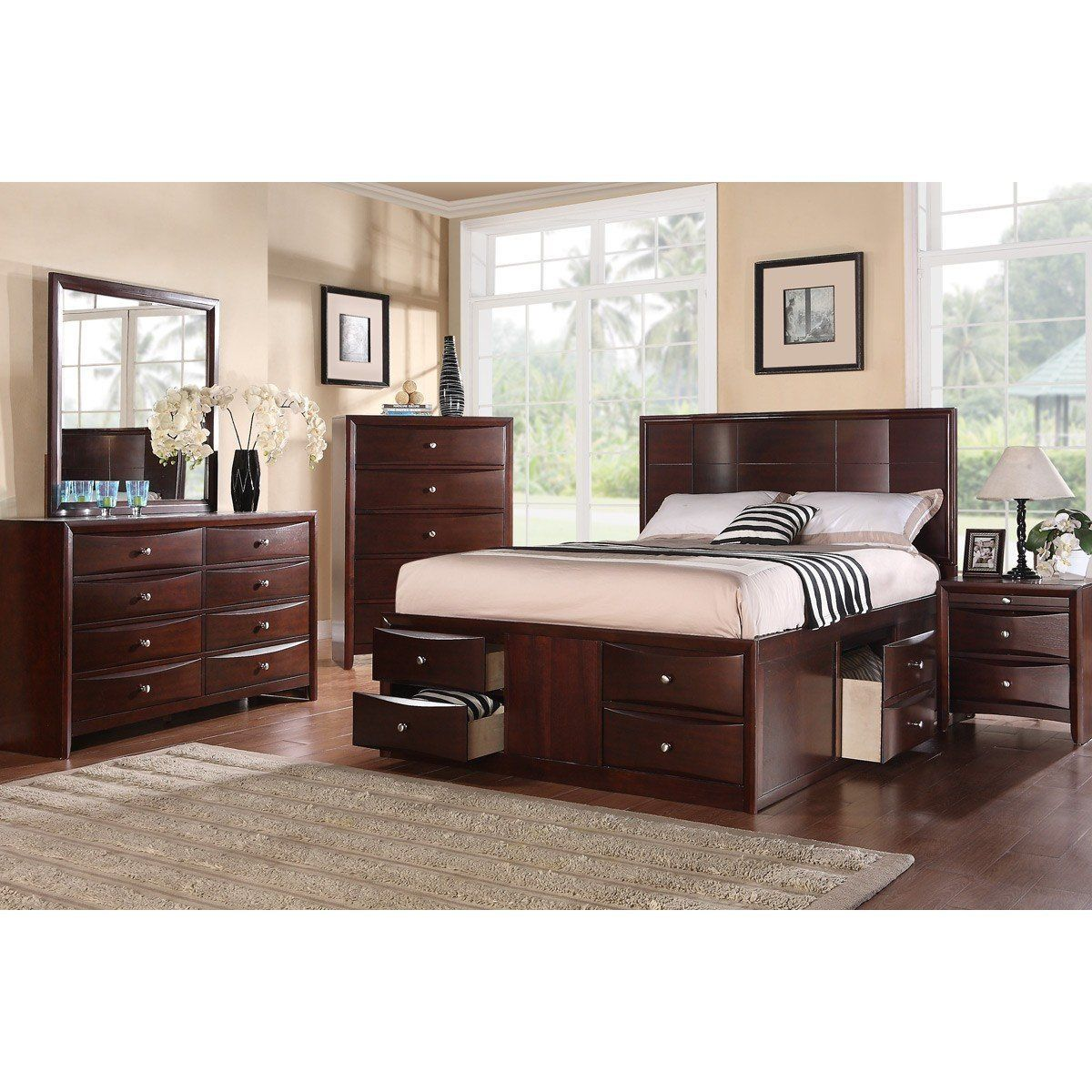 Espresso finish modern bed in products pinterest bedroom