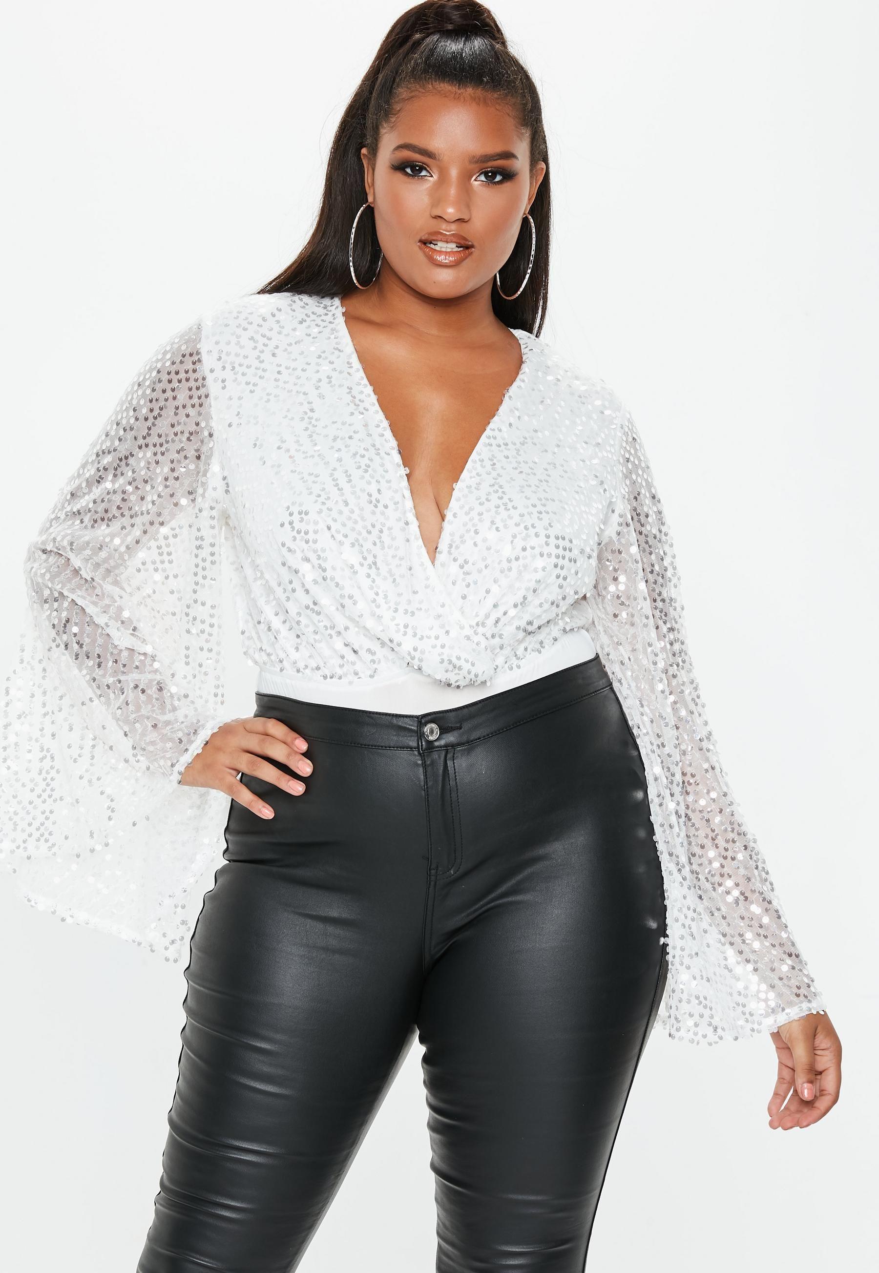 Plus Size White Sequin Plunge Bodysuit Fashion, Clothes