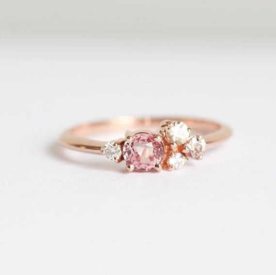 ef938e3e7 Oval Peach Pink Sapphire Cluster in 14k or 18k Solid Gold with Champagne  and White Diamonds and a Small Pink Sapphire. ->Look at these unique  wedding rings.
