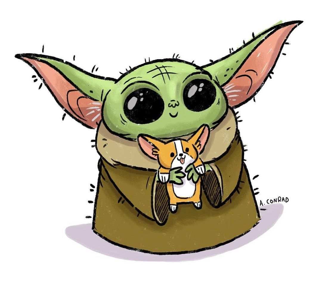 Amanda Conrad On Instagram Maybe We Find Out Baby Yoda Is Part Corgi Yoda Art Yoda Artwork Star Wars Yoda