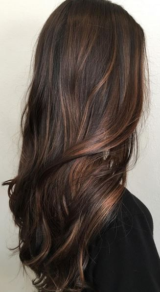A Subtle Balayage Application On A Dark Brunette Base Is All That S Need To Spice Things Up Hair Highlights Balayage Hair Hair Styles