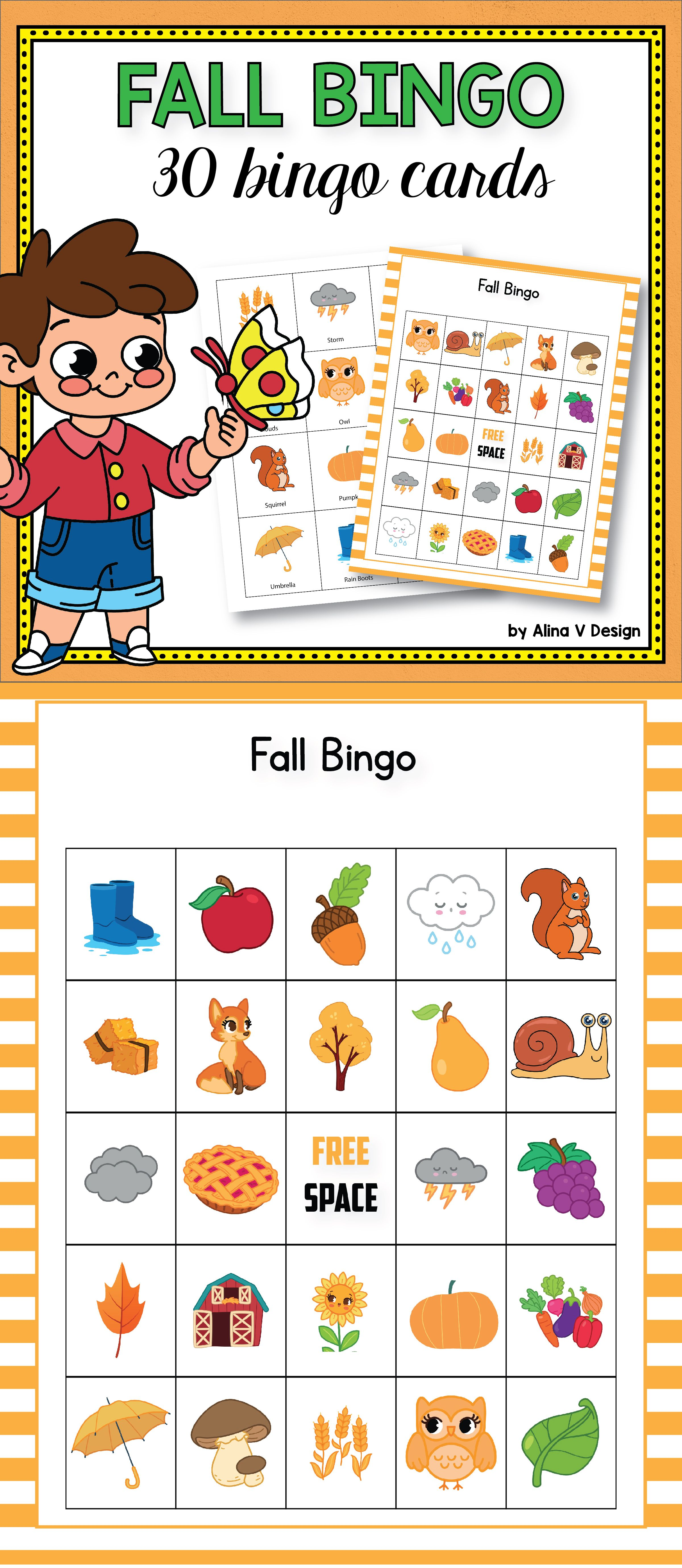Fall Bingo Cards Preschool