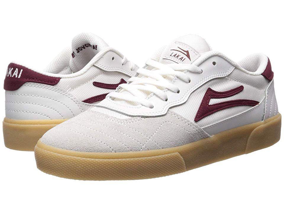 Lakai Cambridge (WhiteBurgundy Leather) Men's Shoes. Modern
