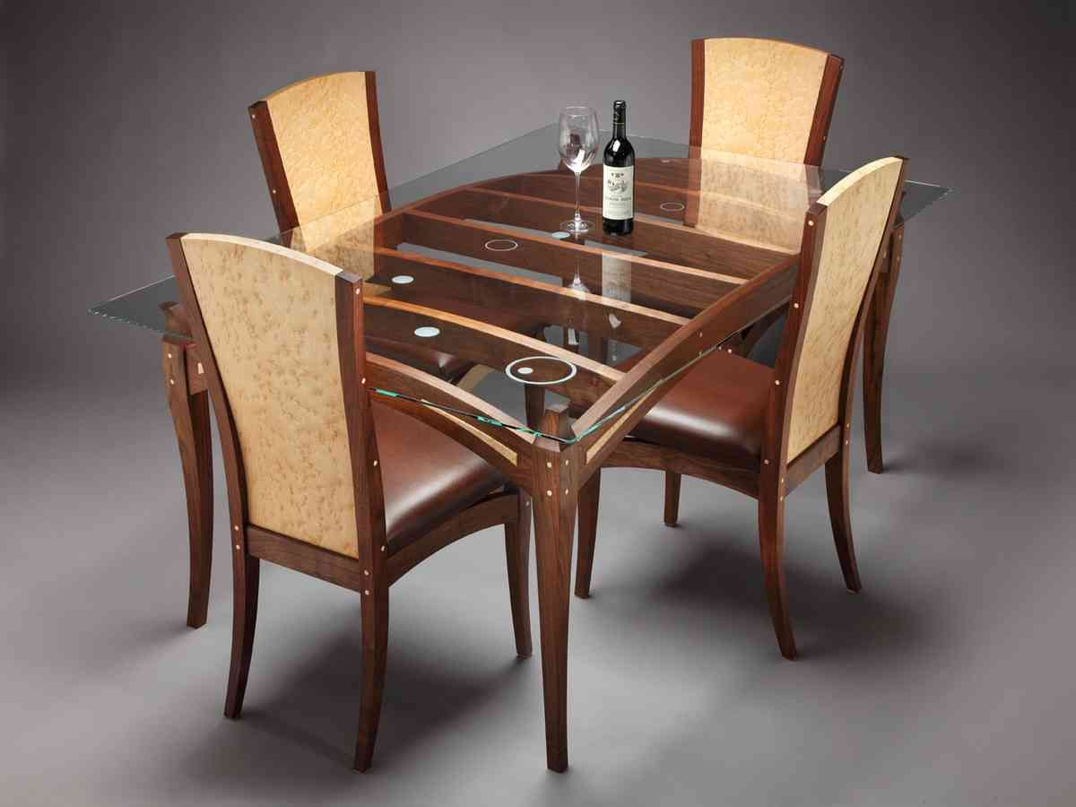 Glass Top Dining Table Set 4 Chairs Wooden Dining Table Designs