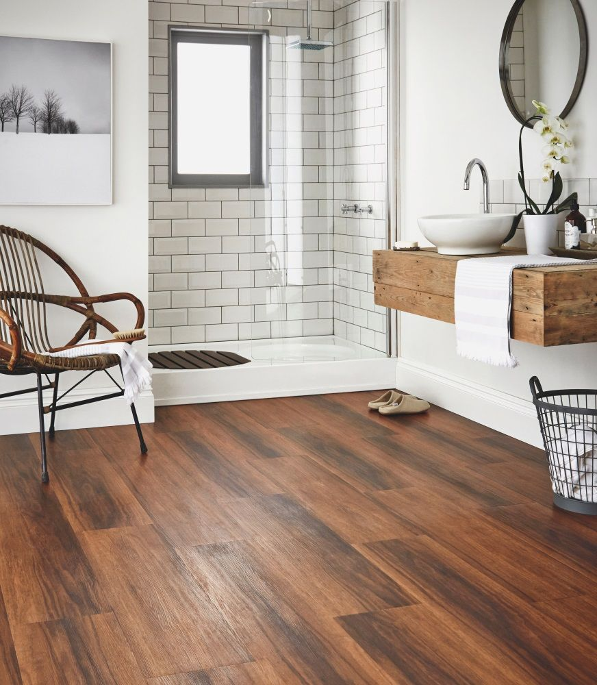 Hardwood Floor In Bathroom linoleum flooring From Karndean Design Flooring Go Against Conventional Bathroom Tile Floors And Opt For A Modern Trendy Look With Wood Once Complete Wood Finishes