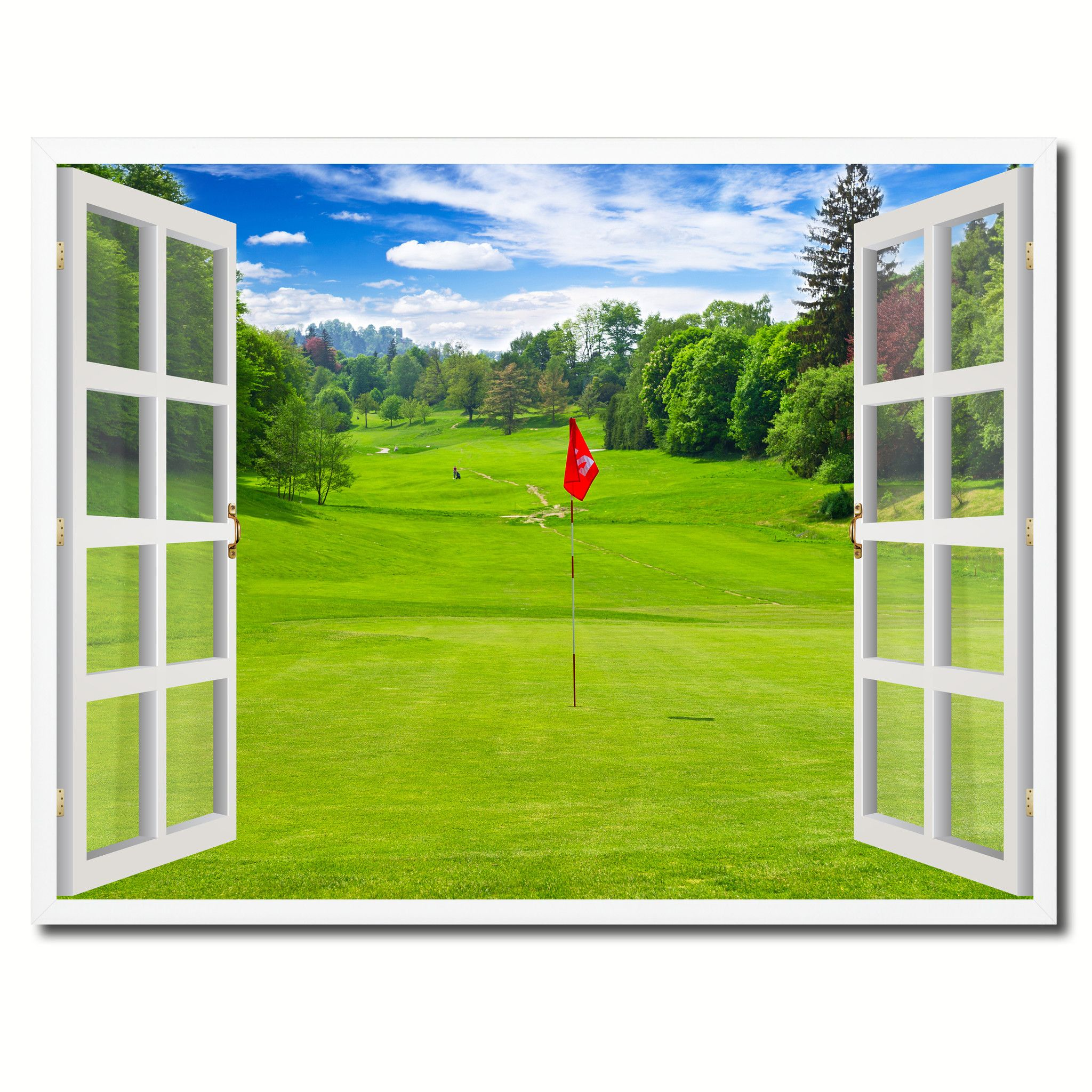 Landscape Golf Field Picture French Window Framed Canvas Print Home ...