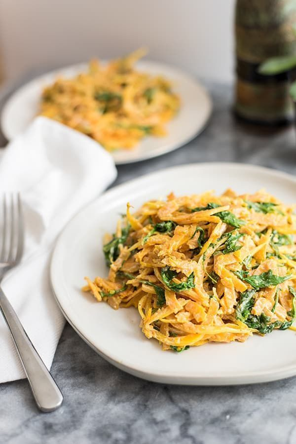 Creamy Garlic Butternut Squash Noodles (Whole30) - -