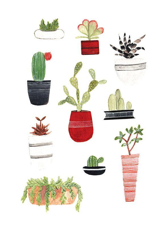 Art Print 5x7 Succulents In 2020 Plant Art Art Prints Cactus Art