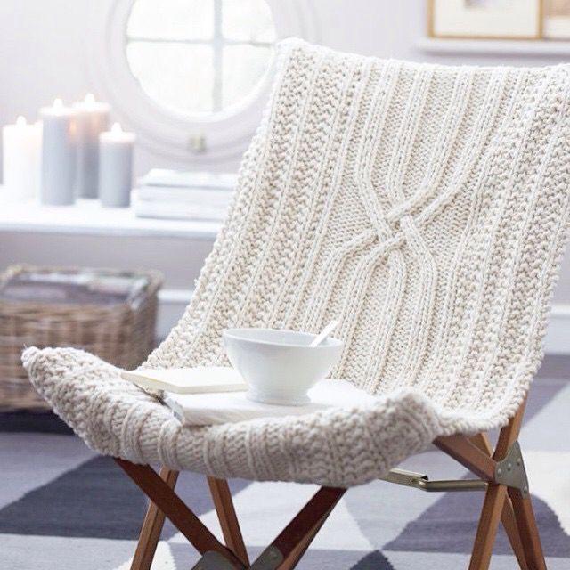 White, knit, chair