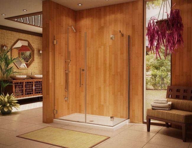 badezimmer design ohne fliesen holz wandpaneele glas duschkabine