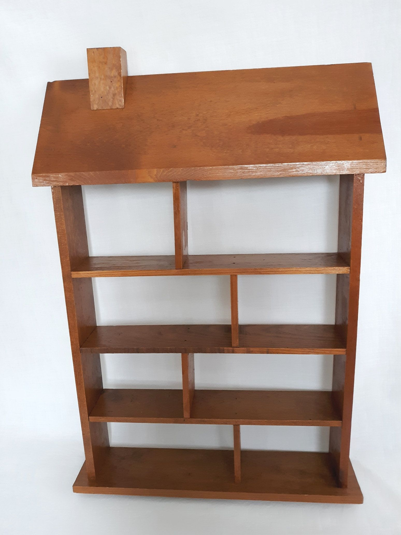 Vtg Hdm Wooden Tall Shelf Mini Collections Organizer Rack Spice Holder Knick Knacks Open Display House Shaped Wall Hanging Tall Shelves Shelves Wooden Shelves