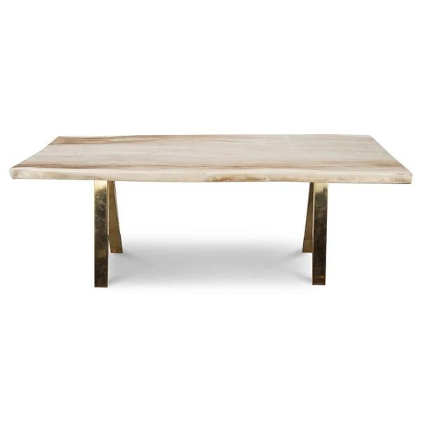 Bleached Eco Slab Desk with Brass A-Frame Legs - ModShop