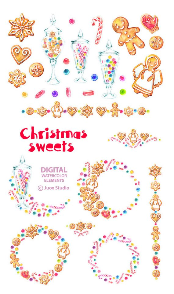 Weihnachtsgebäck Clipart.Gingerbread Cookies Christmas Sweets Clipart Watercolor Winter