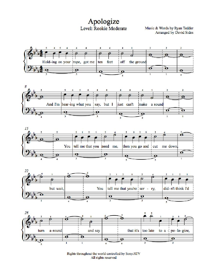 Apologize by one republic piano sheet music rookie level apologize by one republic piano sheet music rookie level hexwebz Choice Image