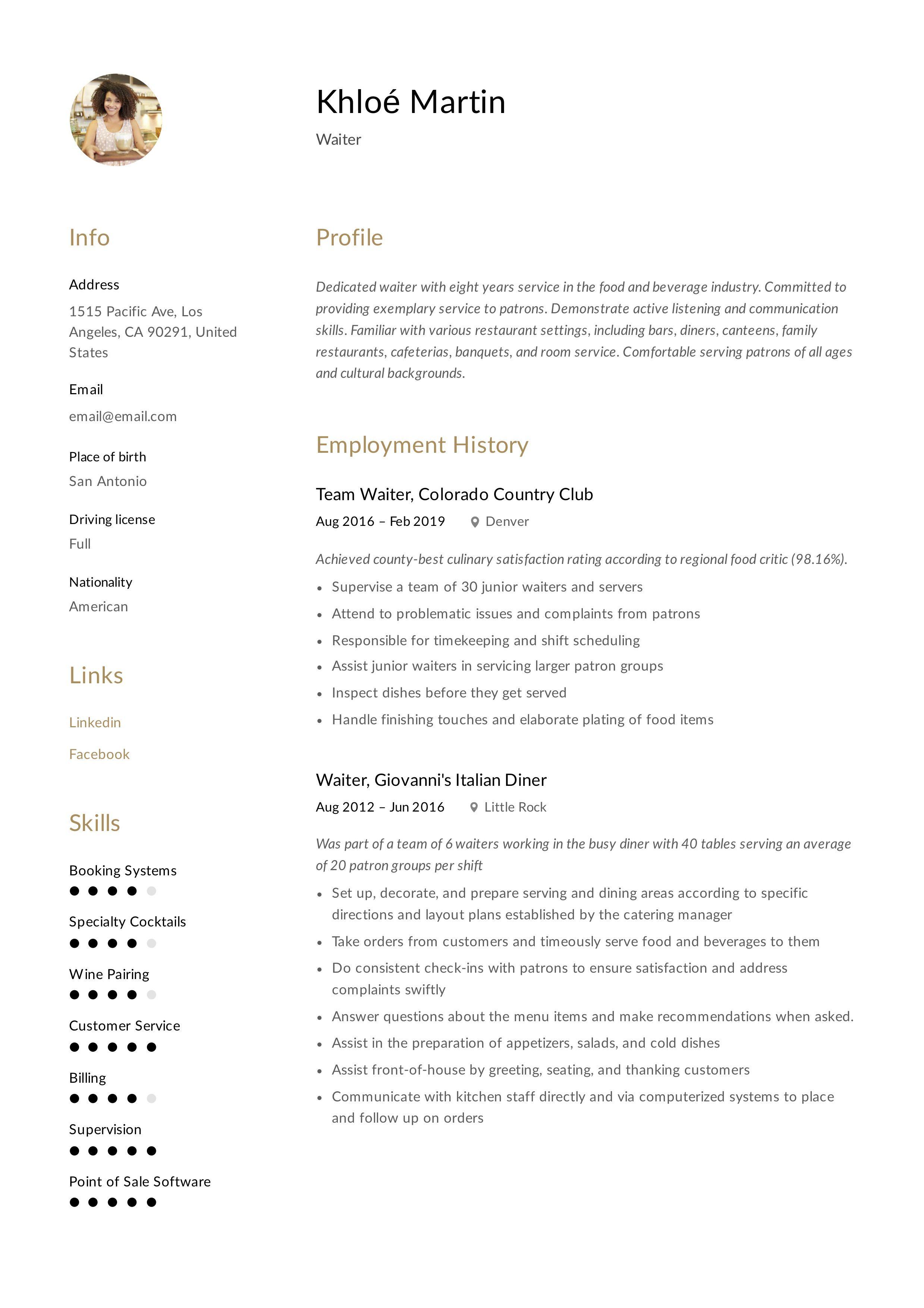 Waiter Resume Template Guided Writing Resume Writing Resume Template