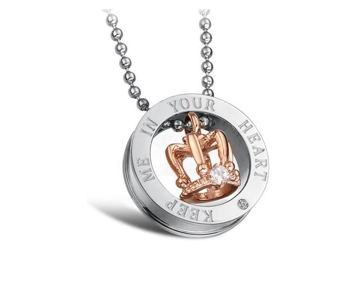 aeaf77858b Stainless King/Queen Keep Me In Your Heart Engraved Crown Couple Neckl –  Gift for Crush