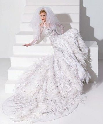 White Peacock Feather Wedding Dress