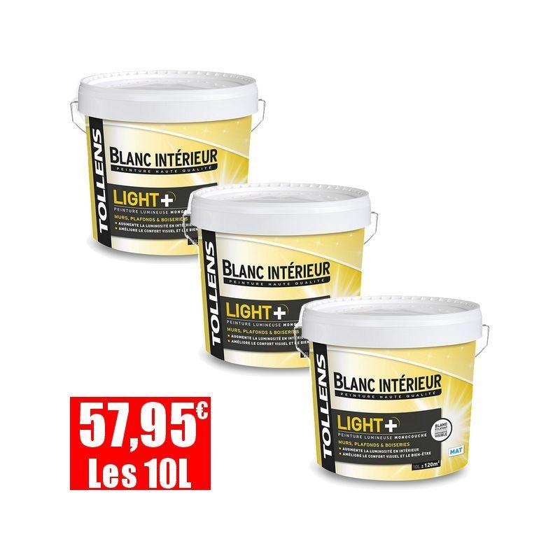 Lot De 3 Peinture Tollens Ultra Lumineuse Light Mat Blanc