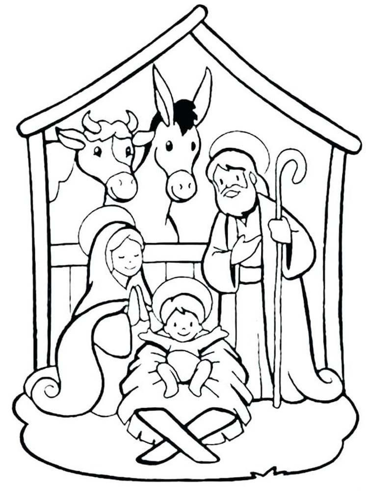 Nativity Scene Coloring Pages Simple Nativity Scene ...