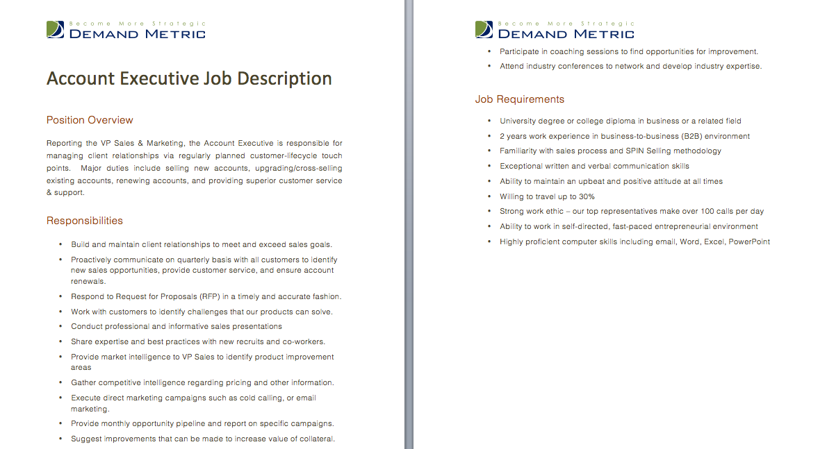 Account Executive Job Description A template to quickly