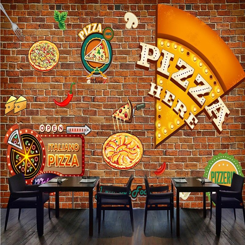 Custom Mural Retro Pizza Fresco Western Restaurant Brick Wall Graffiti Wallpaper Tooling Background Shop