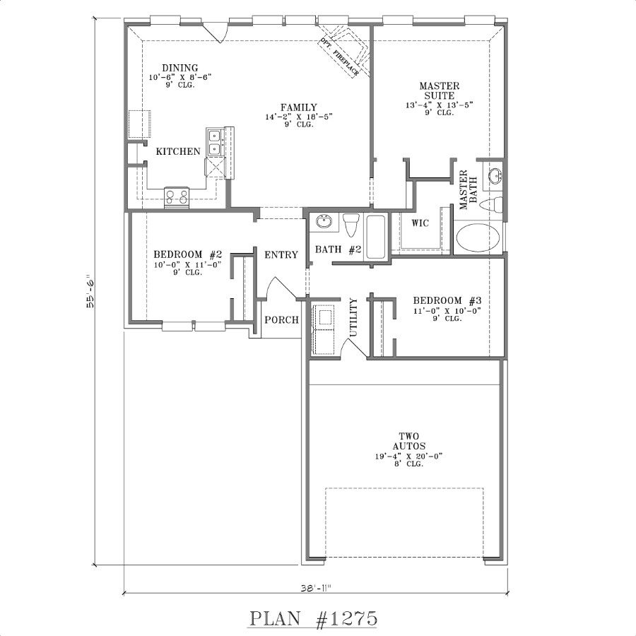 one story house plans with open concept plan 1275 floor plan - Single Story House Plans