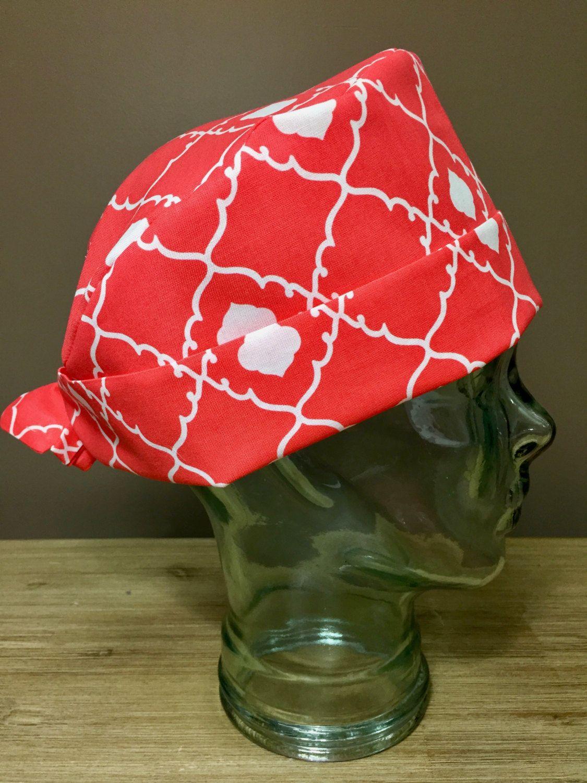 Coral Quatrefoil Surgical Scrub Hat, Women\'s Modern Pixie Scrub Cap ...