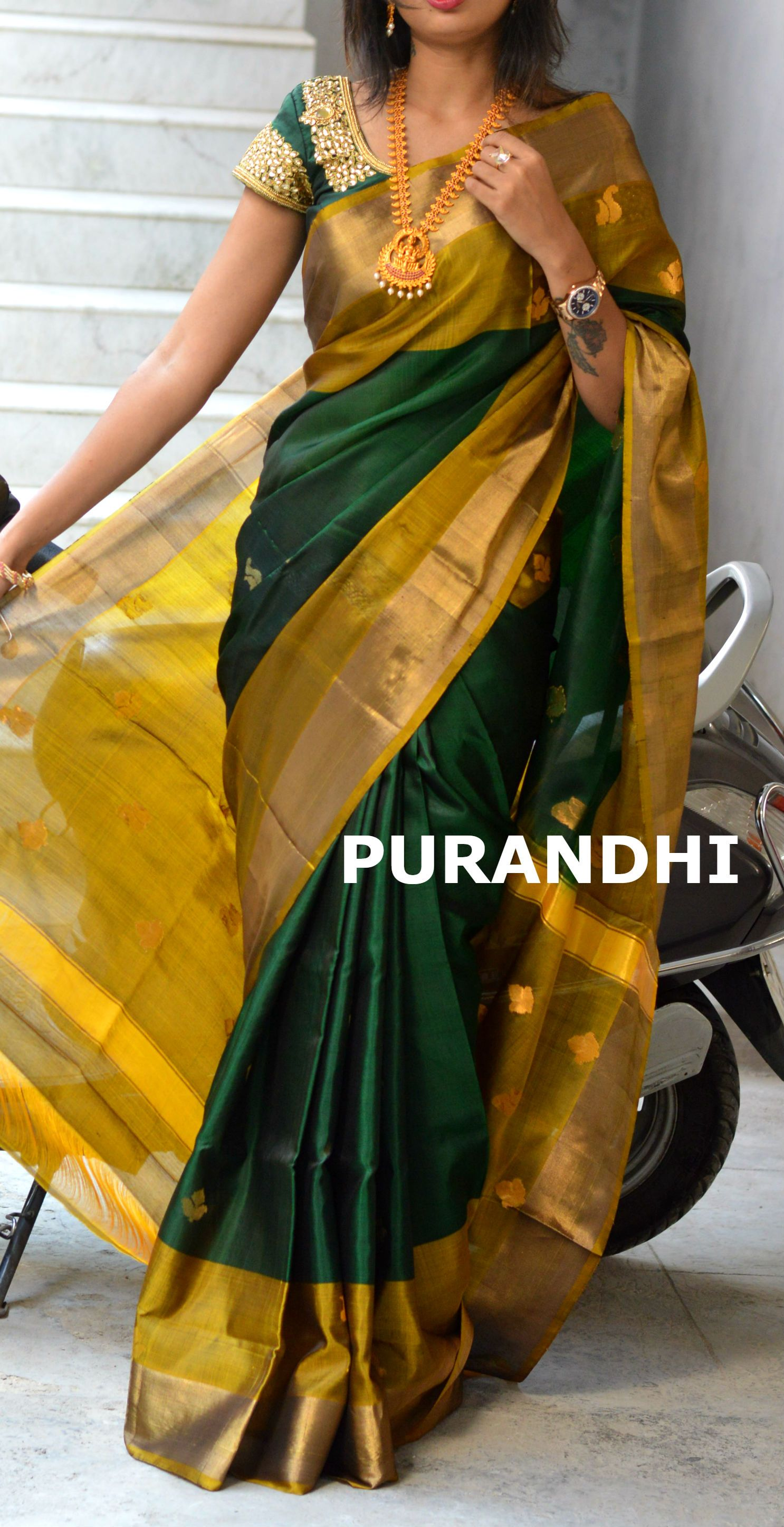 b9889641b99109 Bottle Green uppada pattu saree