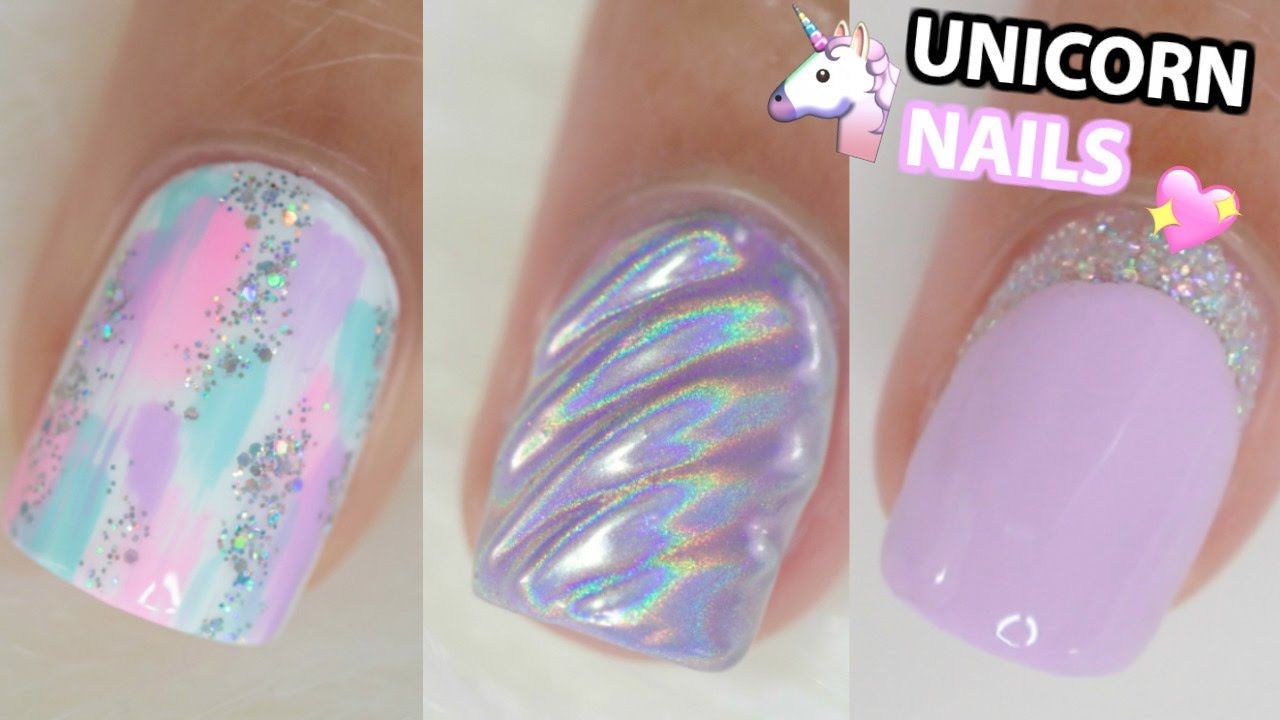 Cute Unicorn Inspired Nail Ideas For Short Nails Nail Art Tutorial Step By Step Video Kids Nail Designs Unicorn Nail Art Unicorn Nails Designs