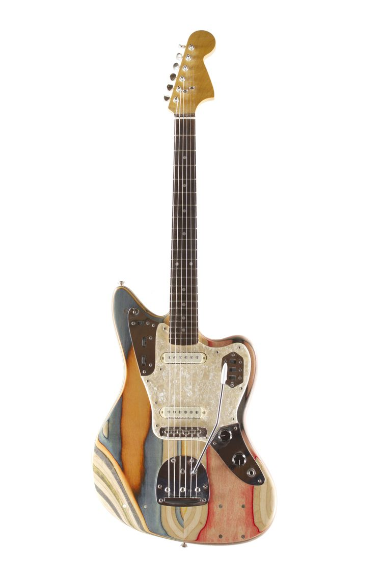 Jaguar style guitar made from recycled skateboards by prisma guitars