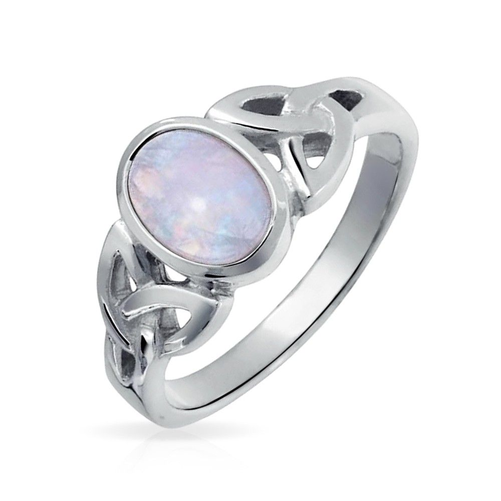925 Silver Simulated Gemstone Celtic Triquetra Knot Ring