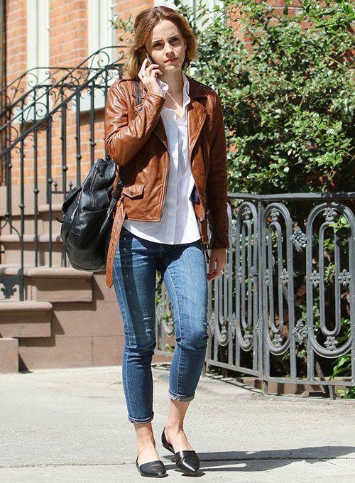 Emma Watson Celebrity Style Brown Slim Fit Biker Vintage Retro Leather Jacket