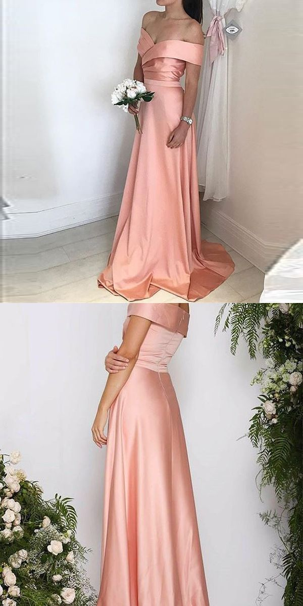 Off The Shoulder Prom Dress,Ruched Bodice Formal Gown, Satin ...