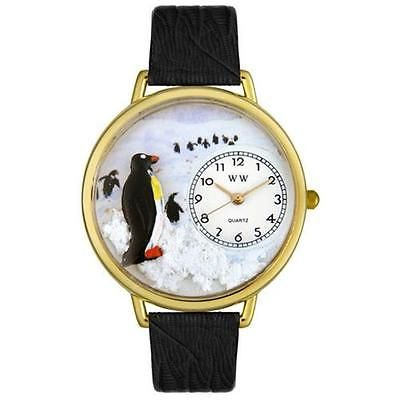 Other Wholesale Wristwatches 40133: Whimsical Watches G0140006 Penguin Black Skin Leather And Goldtone Watch BUY IT NOW ONLY: $52.96