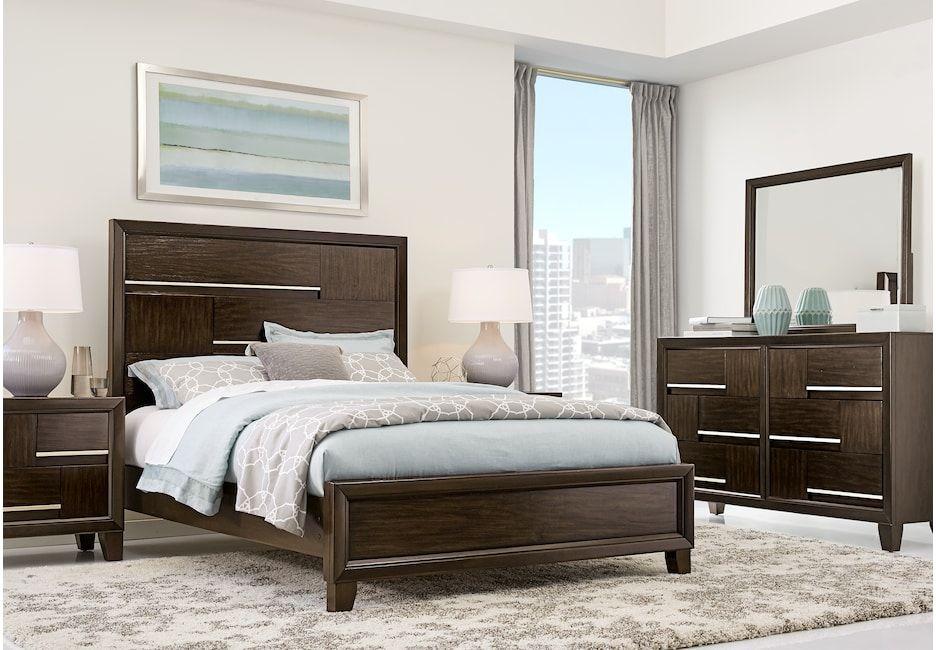 Manhattan Boulevard Espresso 5 Pc Queen Bedroom Bedroom Sets