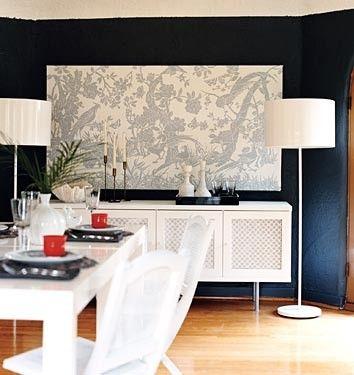 diy oversize art w/canvas idea, I must do this! Bonus! love the lamps too.