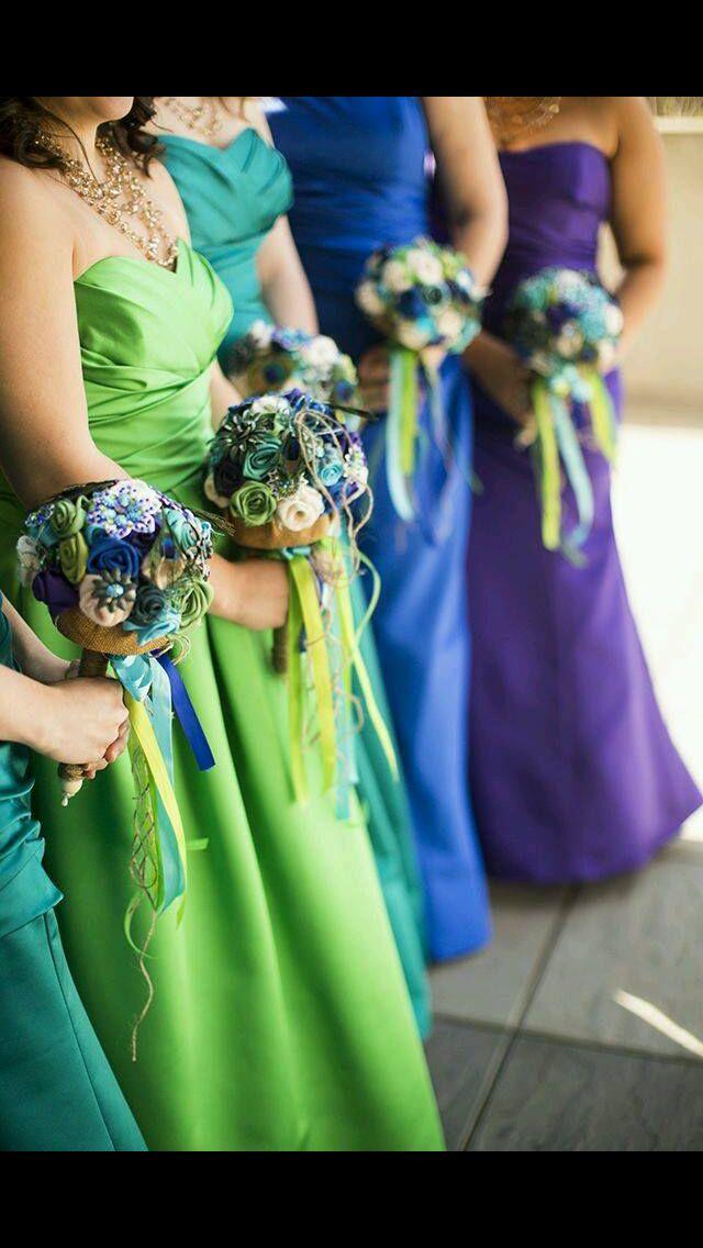 Peacock Feather Bridesmaid Dress