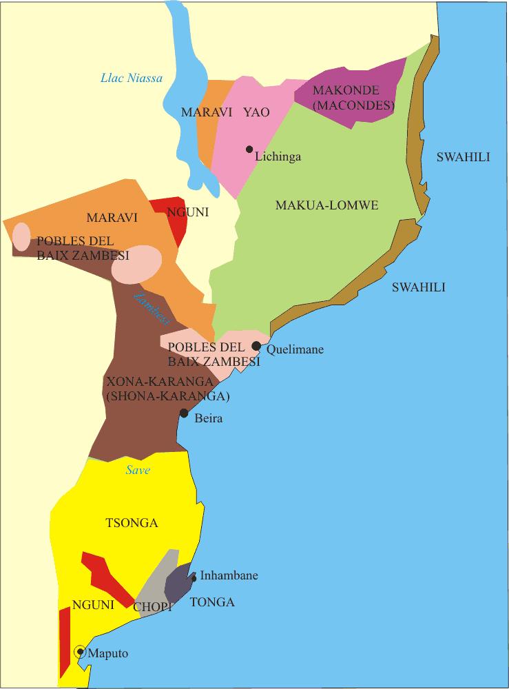 East African Linguistic Groups Mozambique Language Map Language