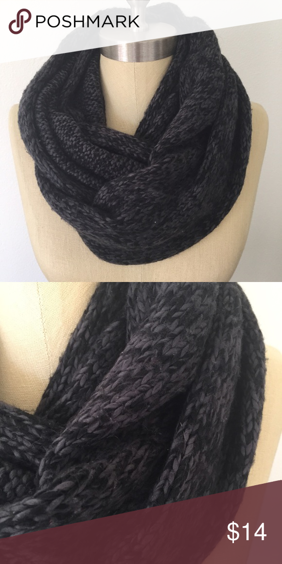 LOFT infinity scarf Chunky knit infinity scarf. Grays and blacks. Super warm and comfy! LOFT Accessories Scarves & Wraps