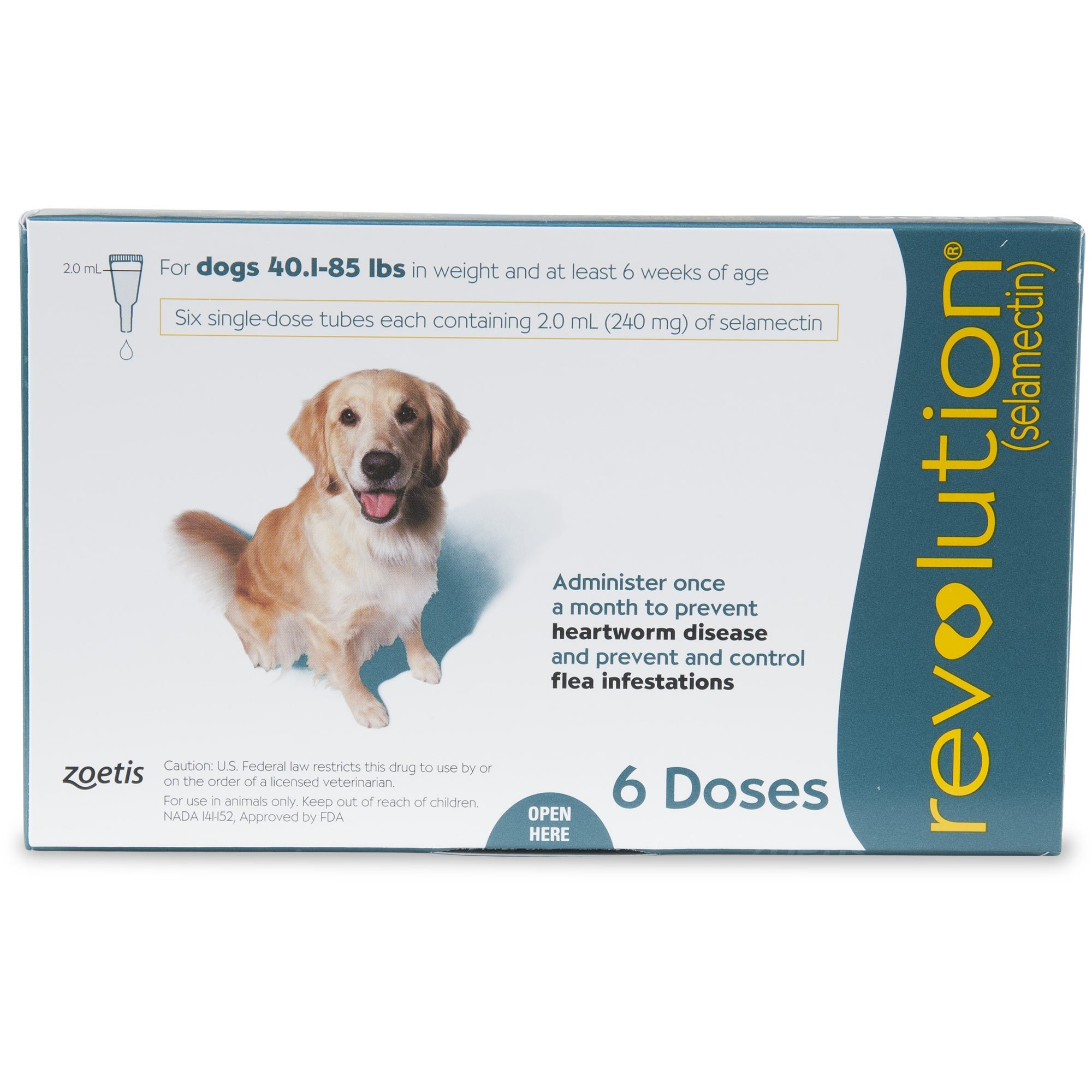 Revolution Topical Solution for Dogs 40.1 85 lbs. Teal