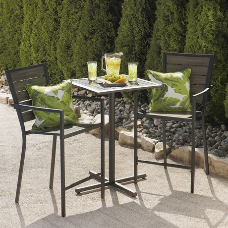 Hometrends maygrove 3 piece endurowood balcony dining set available from walmart canada buy outdoor