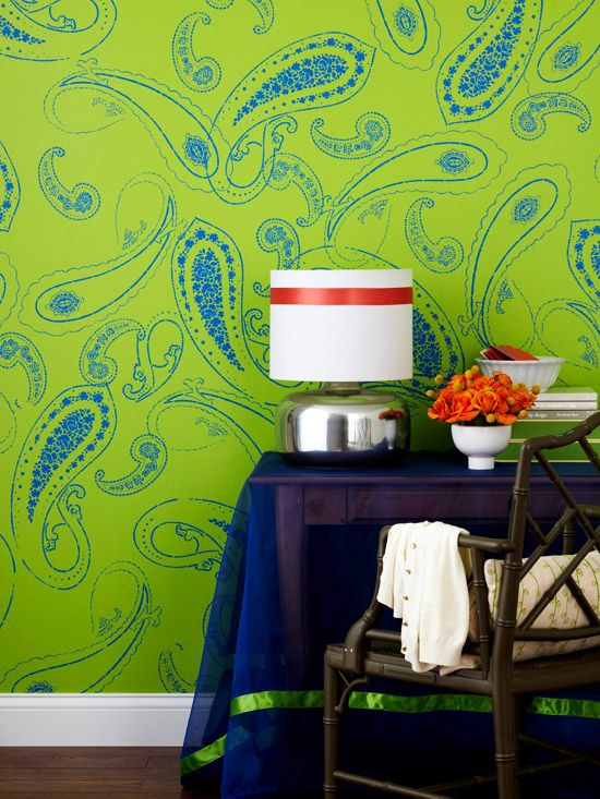 How To Quick Room Refreshes Using Paint Decor Paisley Wall Art Diy Painting