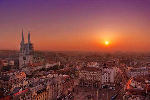 Spring Sunset Zagreb Croatia